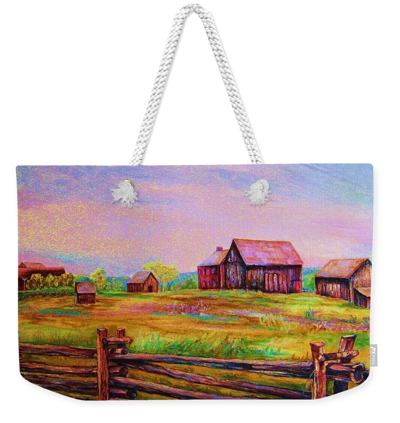 Ranches Weekender Tote Bag featuring the painting The Log Fence by Carole Spandau