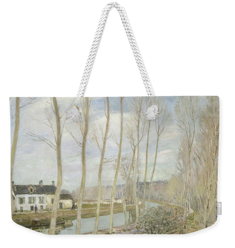 Alfred Sisley Weekender Tote Bag featuring the painting The Loing's Canal by Alfred Sisley