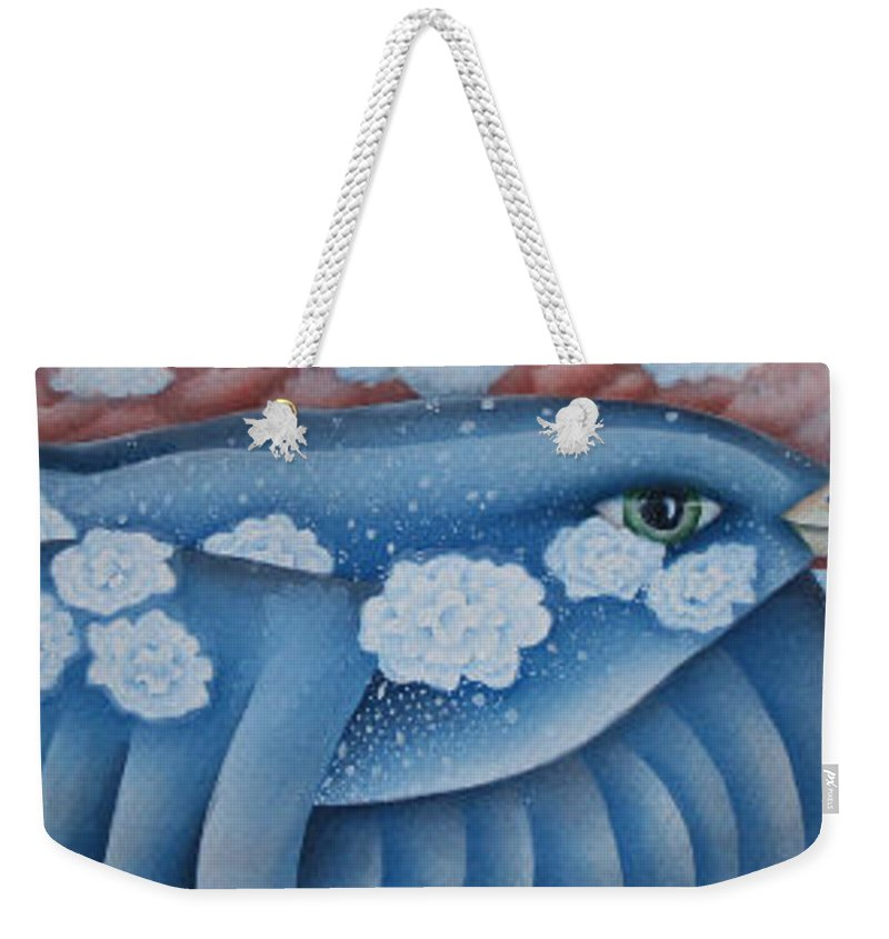 Bluebird Weekender Tote Bag featuring the greeting card The Lone Bluebird by Jeniffer Stapher-Thomas