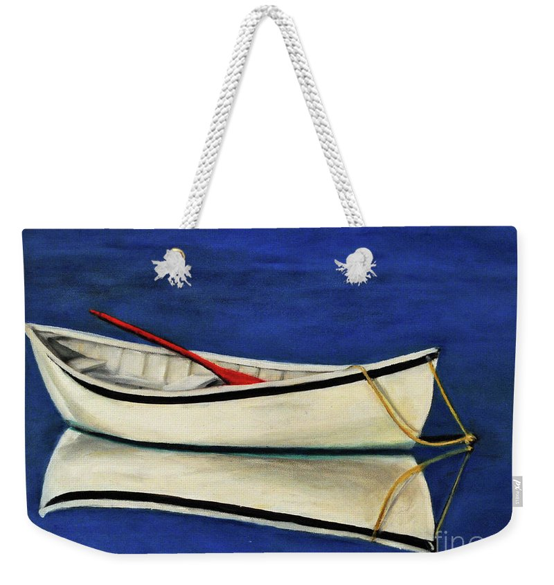 Boat Weekender Tote Bag featuring the painting The Lone Boat by Carolyn Shireman
