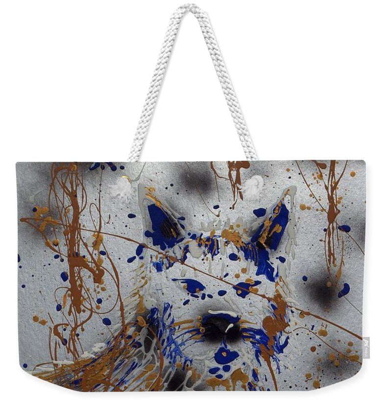 Impressionist Painting Weekender Tote Bag featuring the mixed media The Lone Wolf Canis Lupus by J R Seymour
