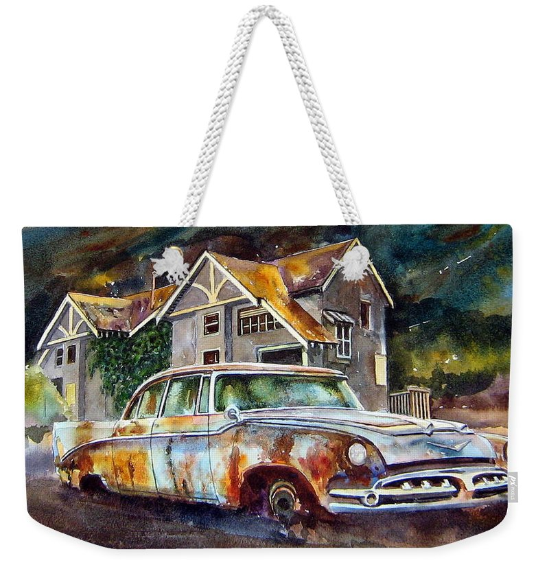 Old Dodoges Weekender Tote Bag featuring the painting The Lonesome Hotel by Ron Morrison