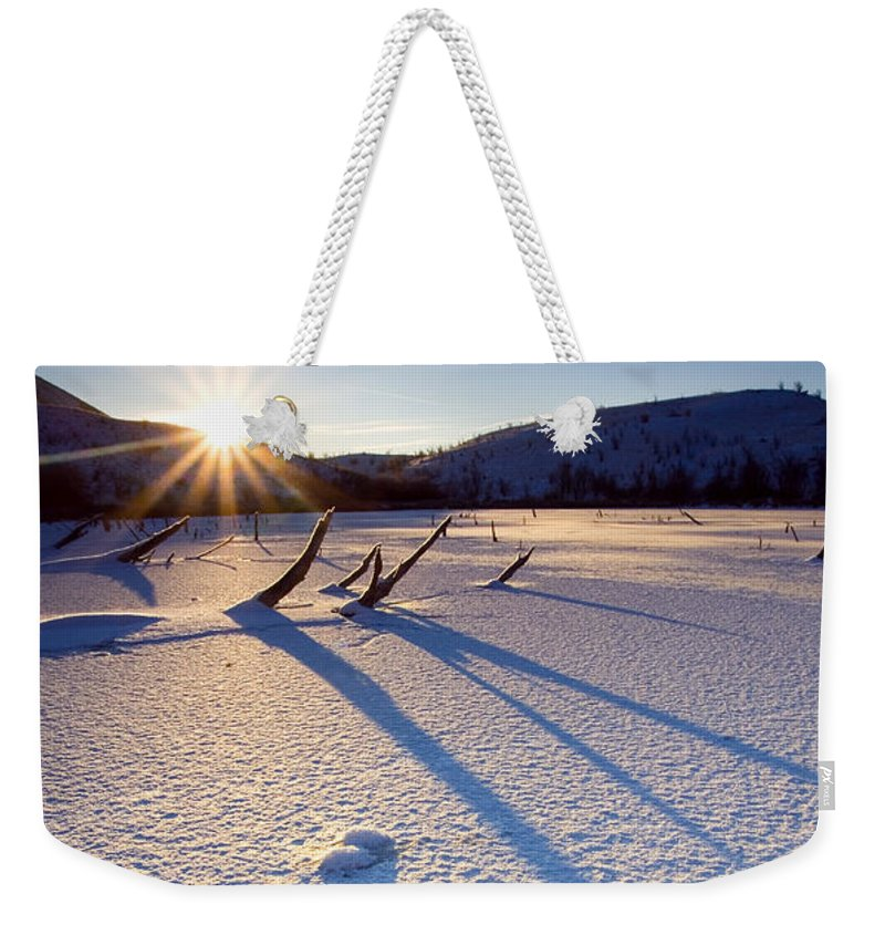 Sunrise Weekender Tote Bag featuring the photograph The Long Shadows Of Winter by Mike Dawson