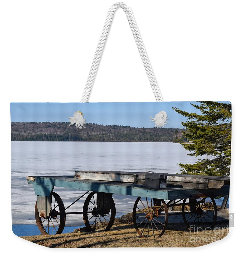 Boat Dock Weekender Tote Bag featuring the photograph The Long Wait by William Tasker
