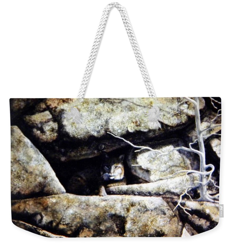 Wildlife Weekender Tote Bag featuring the painting The Lookout Lynx by Frank Wilson