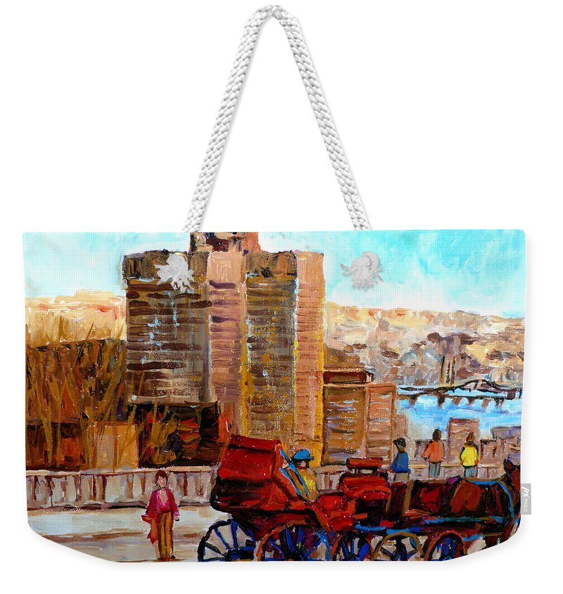Montreal Street Scene Weekender Tote Bag featuring the painting The Lookout On Mount Royal Montreal by Carole Spandau