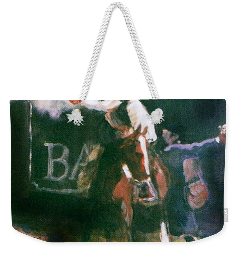 Cowboys Weekender Tote Bag featuring the painting The Lord Helps Them...a Study by Seth Weaver