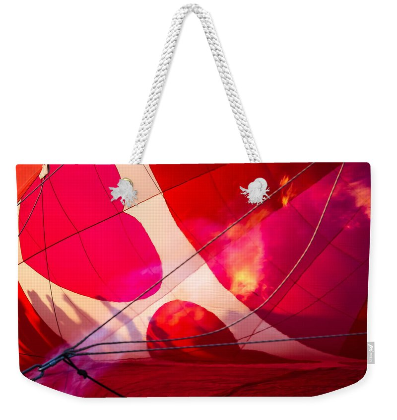 Albuquerque Weekender Tote Bag featuring the photograph Hearts A' Fire - The Love Hot Air Balloon by Ron Pate
