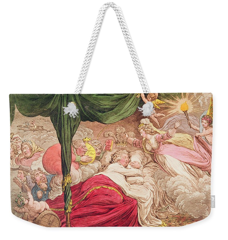Gillray Weekender Tote Bag featuring the drawing The Lovers Dream by James Gillray