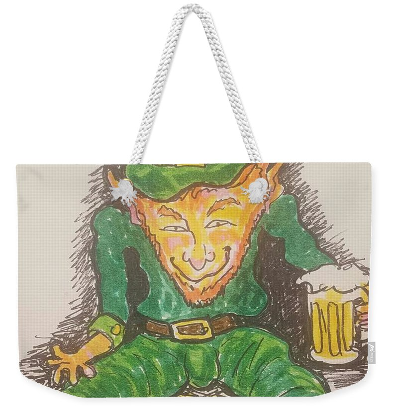 St.patricks Day Weekender Tote Bag featuring the drawing The Luck Of The Irish by Geraldine Myszenski