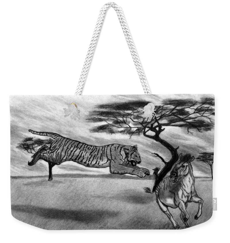 The Lunge Weekender Tote Bag featuring the drawing The Lunge by Peter Piatt