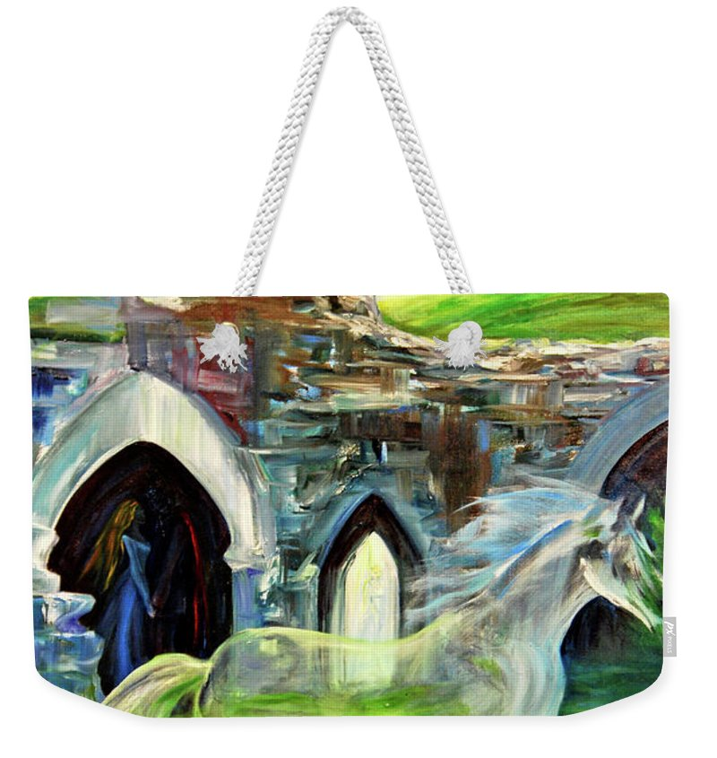 England Weekender Tote Bag featuring the painting The Magic And Majesty Of Corfe Castle by Jennifer Christenson