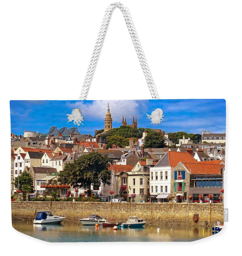Crystal Weekender Tote Bag featuring the photograph The Magic Of St. Peter Port In Guernsey by Mitchell R Grosky