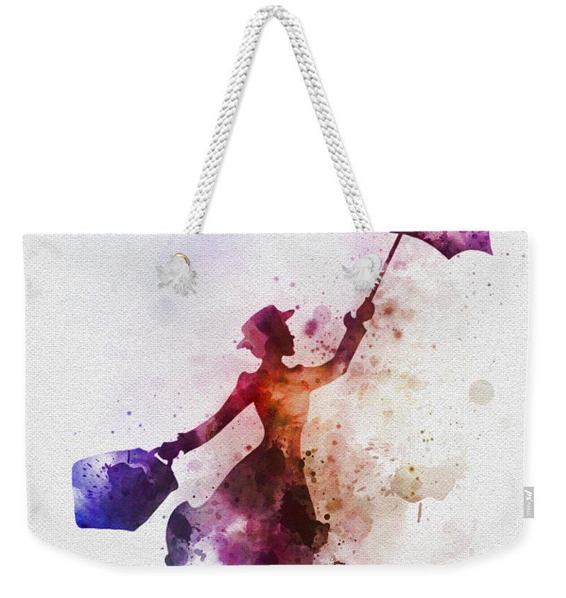 Mary Poppins Weekender Tote Bag featuring the mixed media The Magical Nanny by My Inspiration