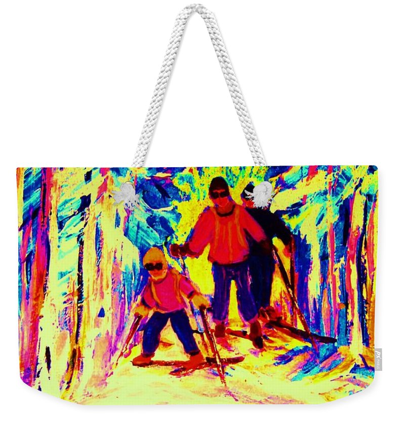 Skis Weekender Tote Bag featuring the painting The Magical Skis by Carole Spandau