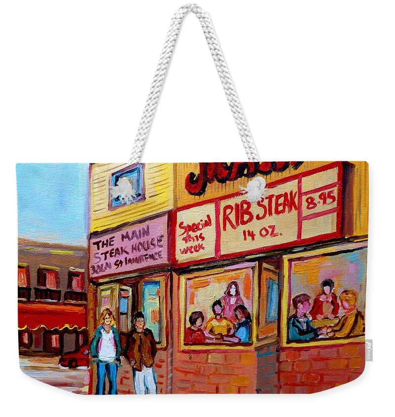The Main Steakhouse Weekender Tote Bag featuring the painting The Main Steakhouse On St. Lawrence by Carole Spandau