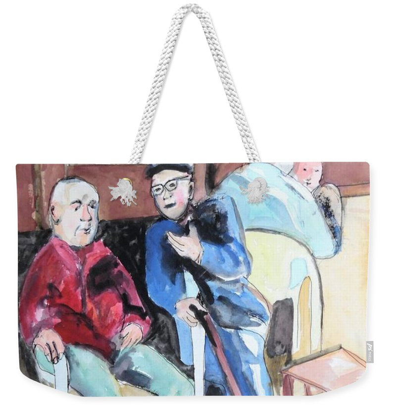 People Of Israel Weekender Tote Bag featuring the painting The Market Parliament by Esther Newman-Cohen