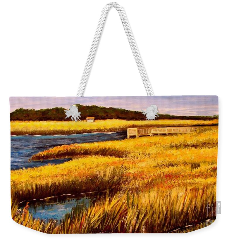 Beaches Weekender Tote Bag featuring the painting The Marsh At Cherry Grove Myrtle Beach South Carolina by Patricia L Davidson