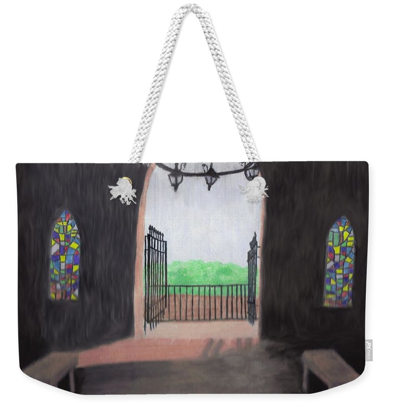 Mausoleum Weekender Tote Bag featuring the drawing The Mausoleum by Jean Haynes
