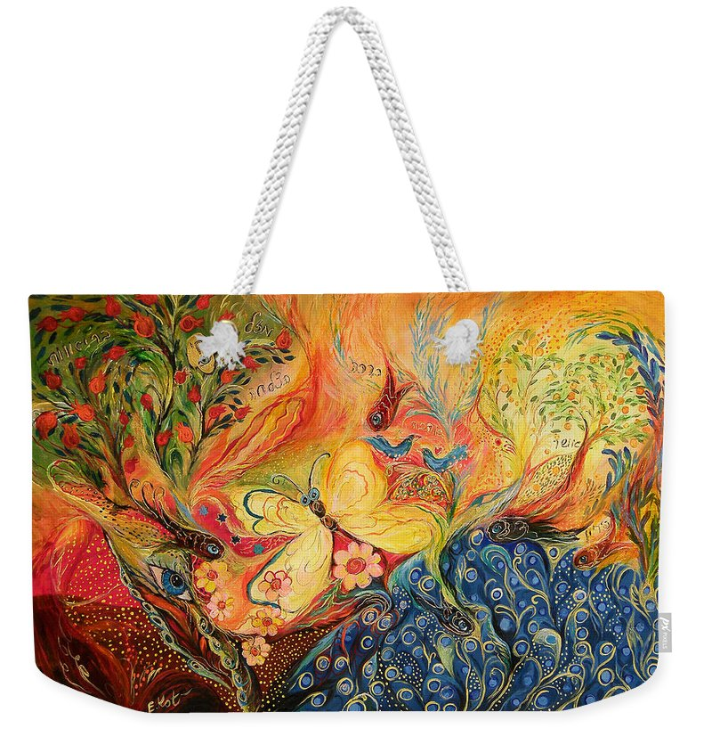 Original Weekender Tote Bag featuring the painting The Mediterranean Spring by Elena Kotliarker