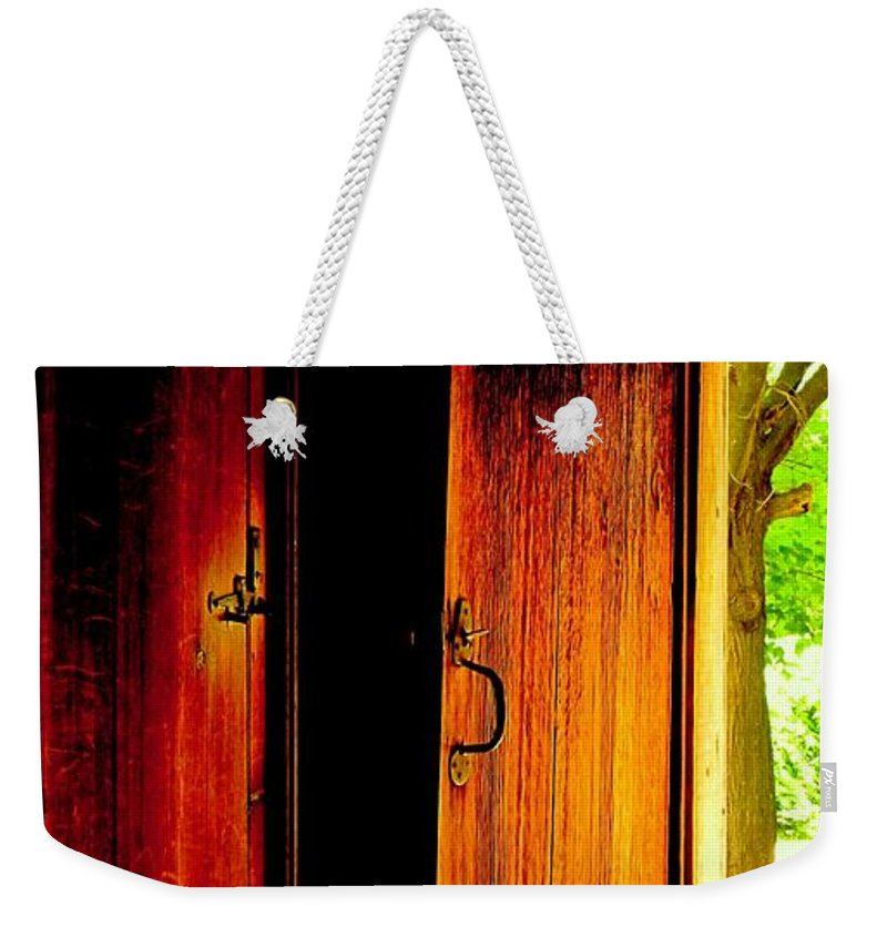 Wood Weekender Tote Bag featuring the photograph The Meeting House Door by Ian MacDonald