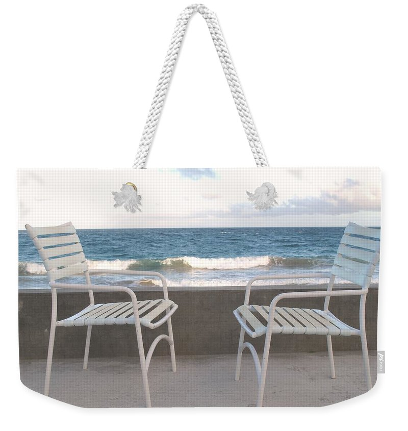 Seascape Weekender Tote Bag featuring the photograph The Meeting by Ian MacDonald