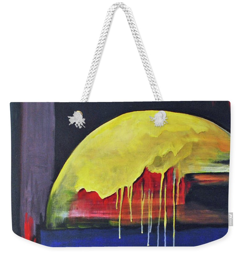 Sun Weekender Tote Bag featuring the painting The Melting Sun by Carolyn Shireman
