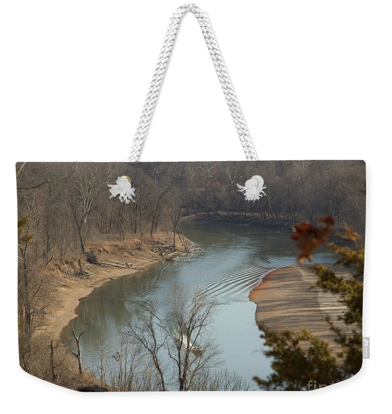 River Weekender Tote Bag featuring the photograph The Meramec by Rebecca Pavelka