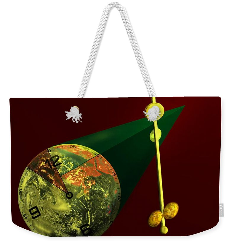 Earth Weekender Tote Bag featuring the digital art The Metronome by Helmut Rottler
