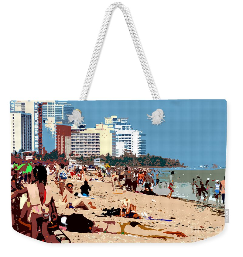 Miami Beach Florida Weekender Tote Bag featuring the photograph The Miami Beach by David Lee Thompson