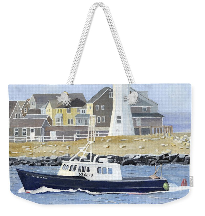 Fishingboat Weekender Tote Bag featuring the painting The Michael Brandon by Dominic White