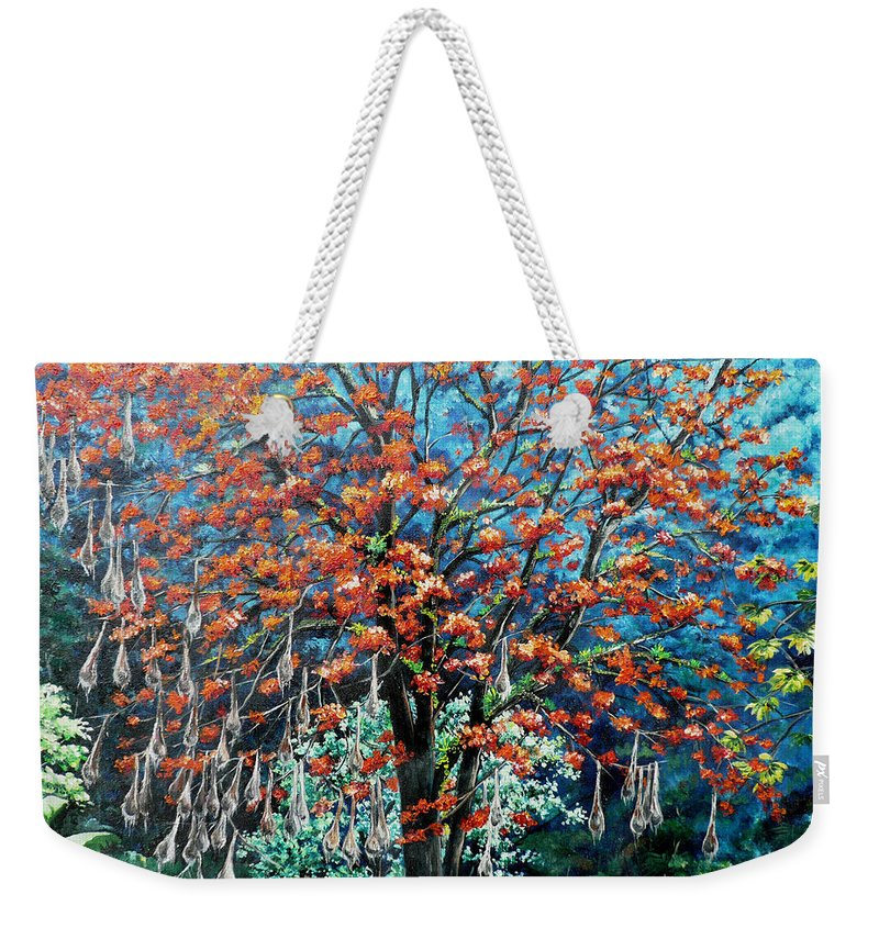 Tree Painting Mountain Painting Floral Painting Caribbean Painting Original Painting Of Immortelle Tree Painting  With Nesting Corn Oropendula Birds Painting In Northern Mountains Of Trinidad And Tobago Painting Weekender Tote Bag featuring the painting The Mighty Immortelle by Karin Dawn Kelshall- Best