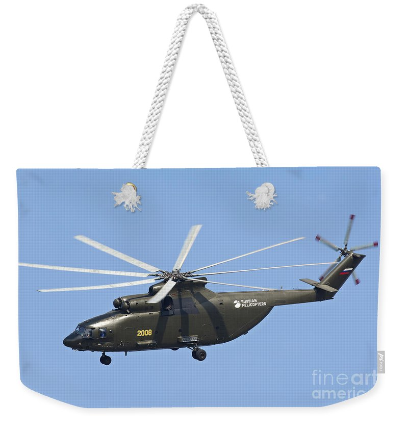 Horizontal Weekender Tote Bag featuring the photograph The Mil Mi-26 Cargo Helicopter by Daniele Faccioli