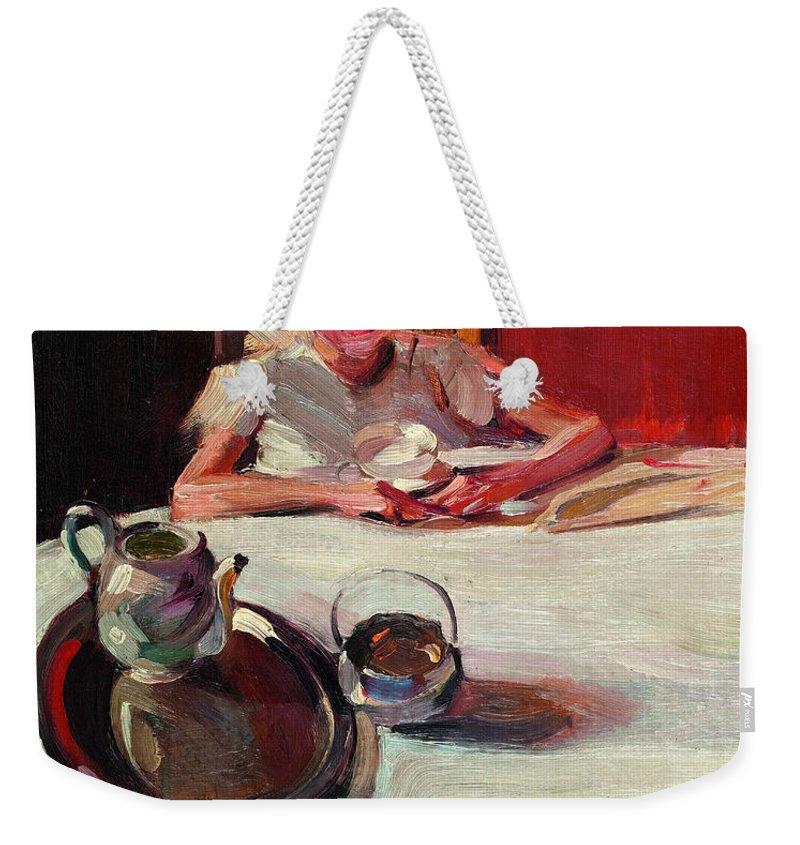 Greek Painters Weekender Tote Bag featuring the painting The Milk by Nikolaos Lytras