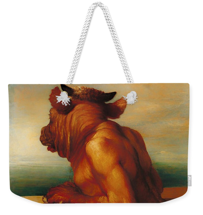 Painting Weekender Tote Bag featuring the painting The Minotaur by Mountain Dreams