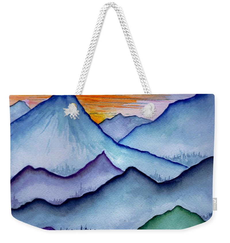 Landscape Weekender Tote Bag featuring the painting The Misty Mountains by Brenda Owen