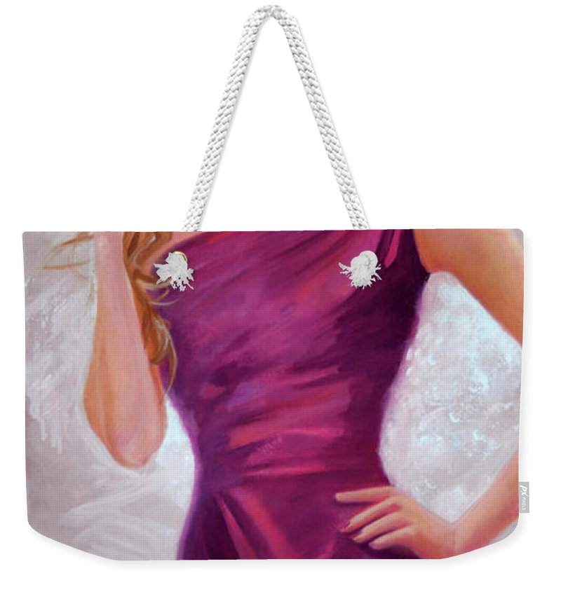 The Model Weekender Tote Bag featuring the painting The Model by Michael Rock