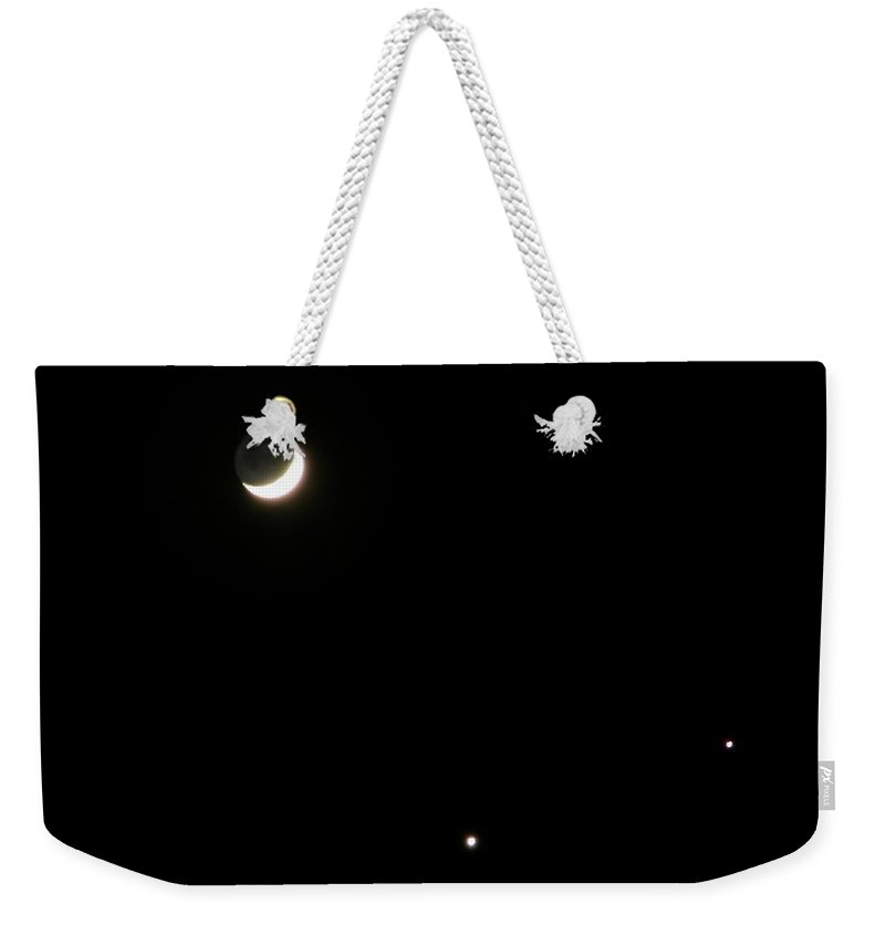 Moon Weekender Tote Bag featuring the photograph The Moon and Stars by Gale Cochran-Smith