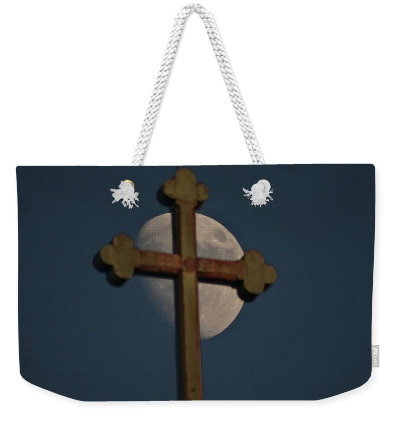 Moon Weekender Tote Bag featuring the photograph The Moon And The Cross II by Explorer Lenses Photography