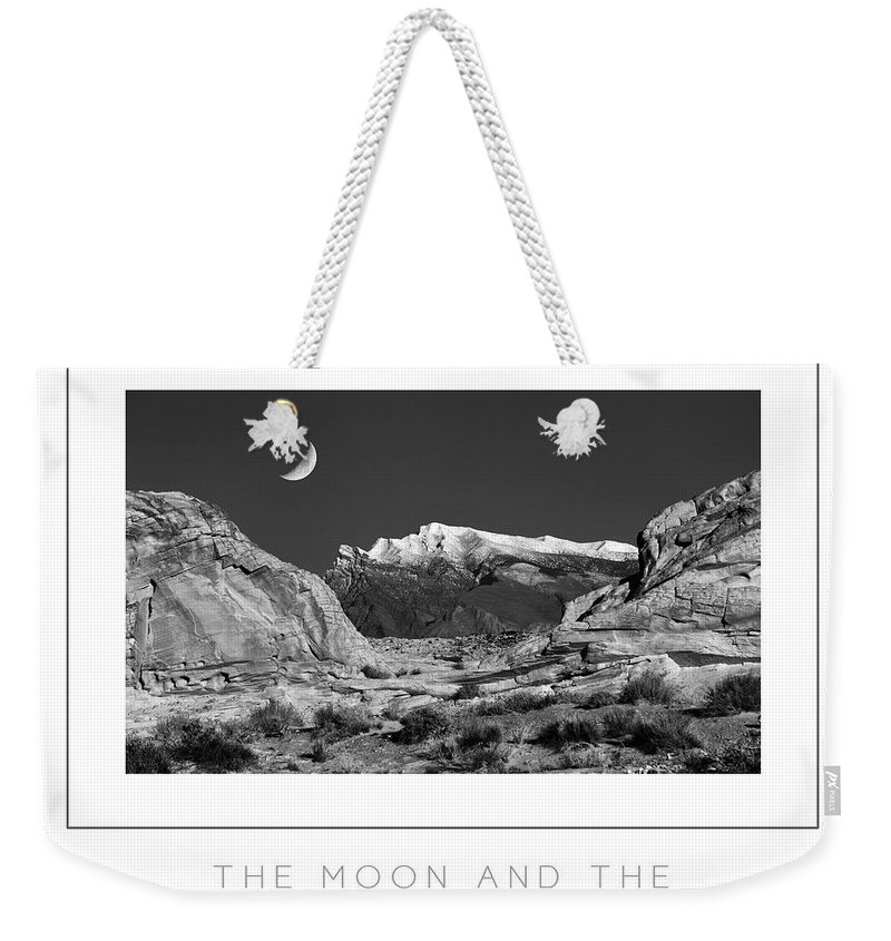 Moon Weekender Tote Bag featuring the photograph The Moon And The Mountain Range Poster by Mike Nellums