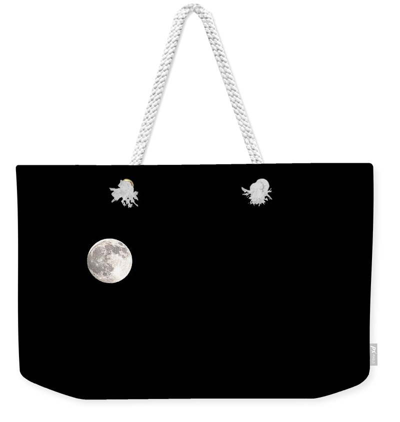 Clay Weekender Tote Bag featuring the photograph The Moon by Clayton Bruster