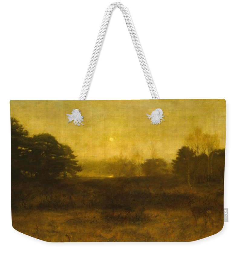 Sir John Everett Millais Weekender Tote Bag featuring the painting The Moon Is Up by MotionAge Designs
