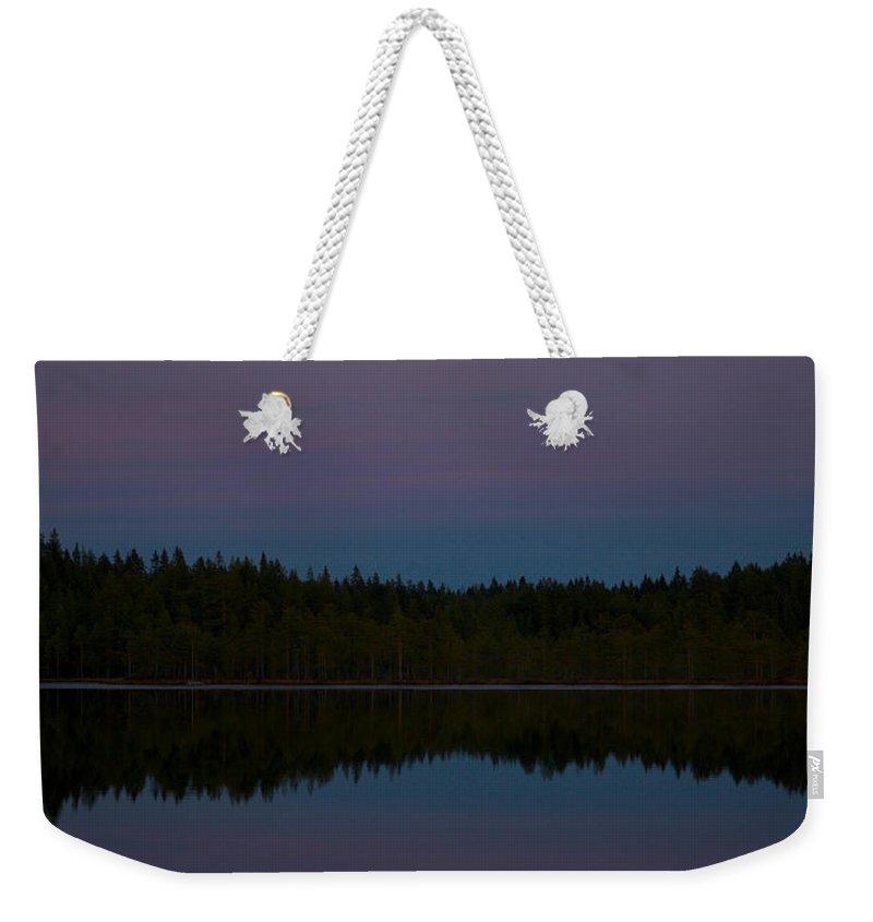 Lehtokukka Weekender Tote Bag featuring the photograph The Moon Over Kirkas-soljanen 3 by Jouko Lehto