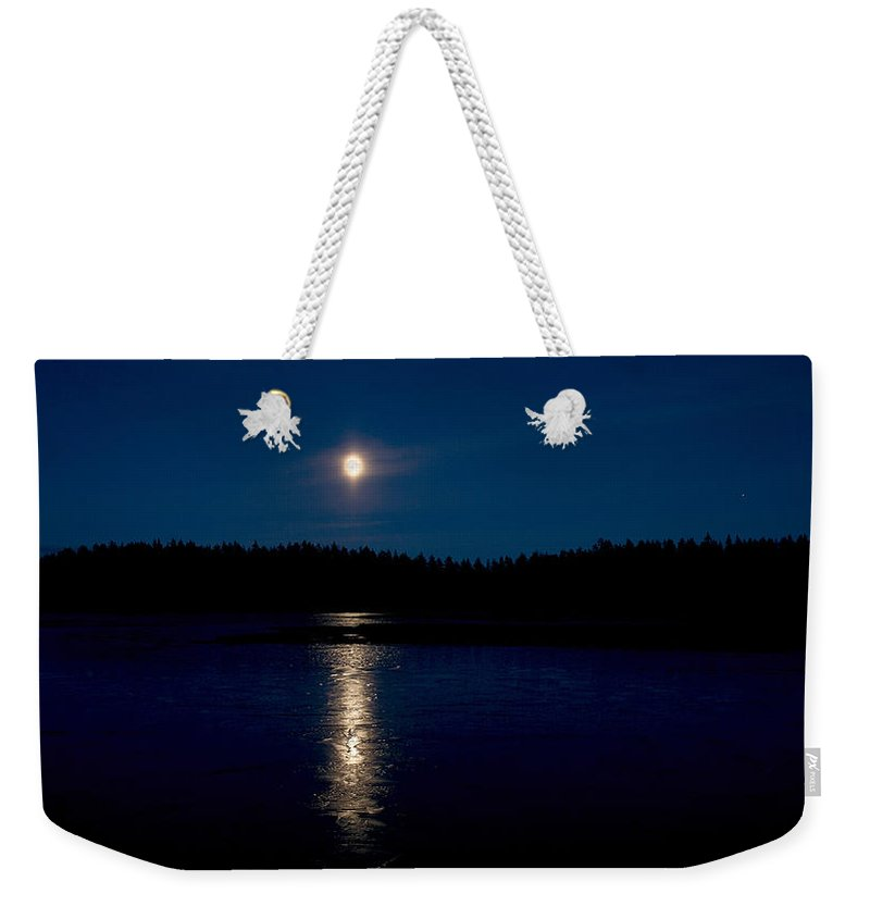 Lehtokukka Weekender Tote Bag featuring the photograph The Moon Over Saari-soljanen 2 by Jouko Lehto