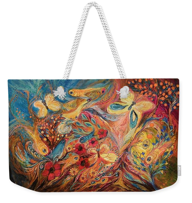 Weekender Tote Bag featuring the painting The Morning Freshness by Elena Kotliarker