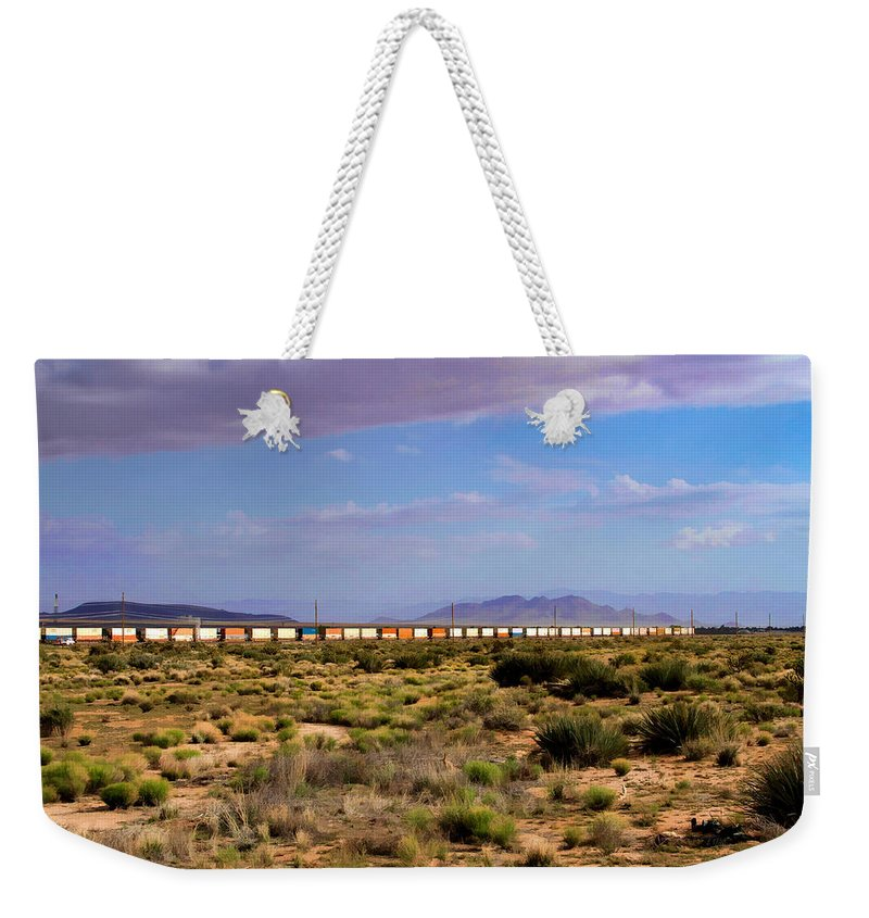 The Morning Train By Route 66 Weekender Tote Bag featuring the photograph The Morning Train By Route 66 by Bonnie Follett