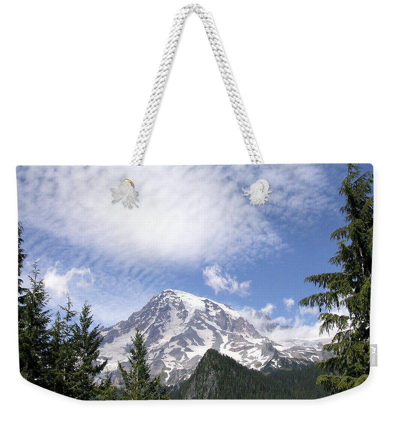 Mountain Weekender Tote Bag featuring the photograph The Mountain Mt Rainier Washington by Michael Bessler