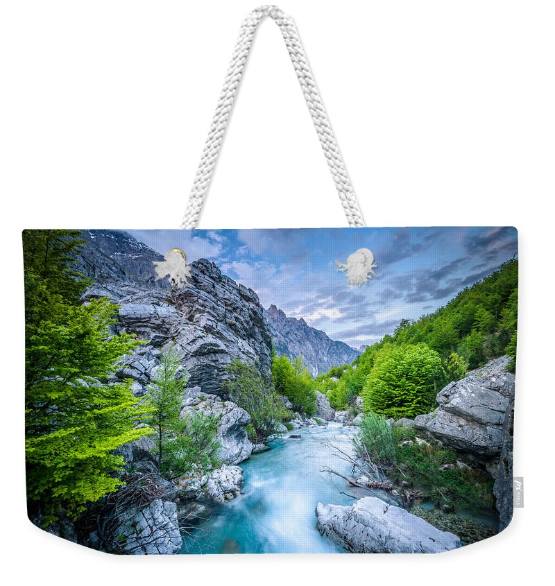 Landscape Format Weekender Tote Bag featuring the photograph The Mountain Spring by Radek Spanninger