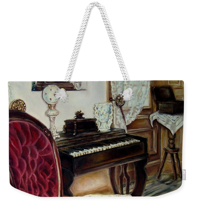 Music Weekender Tote Bag featuring the painting The Music Room by Carole Spandau