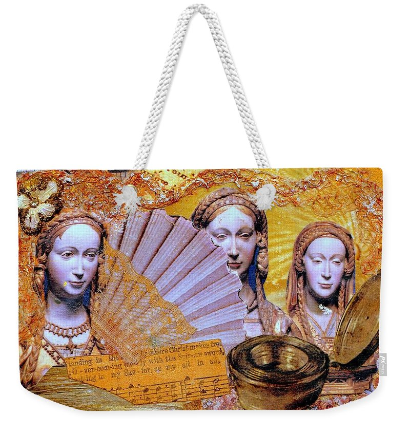 Christian Weekender Tote Bag featuring the mixed media The Mystery by Gail Kirtz